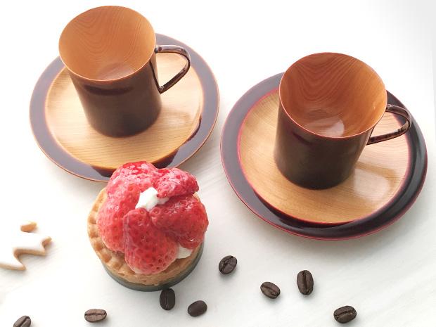 飛騨春慶塗 伝統工芸品 コーヒーカップ デミタス 紅 2
