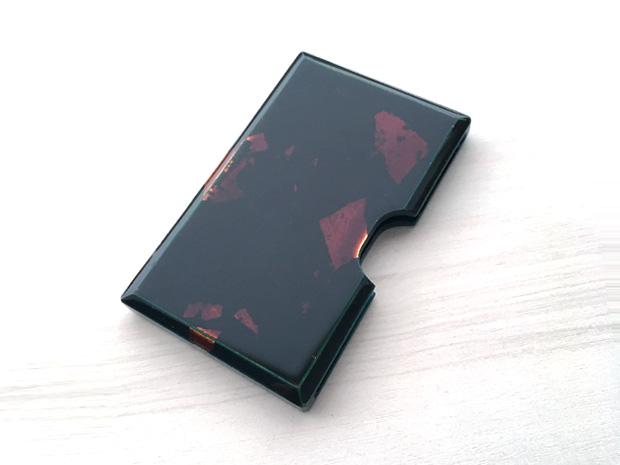 飛騨春慶塗 伝統工芸品 カード・名刺ケース 青 銀箔 1