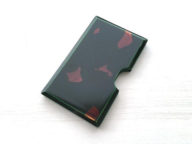 飛騨春慶塗 伝統工芸品 カードケース 緑 銀箔 1