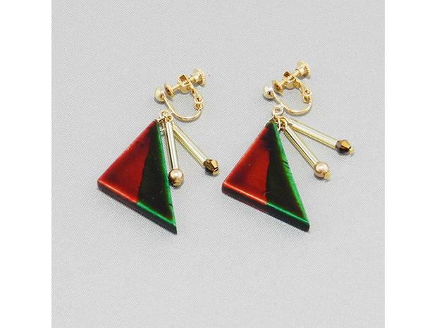 飛騨春慶塗 伝統工芸品 飛騨春慶のイヤリング 紅×緑 1