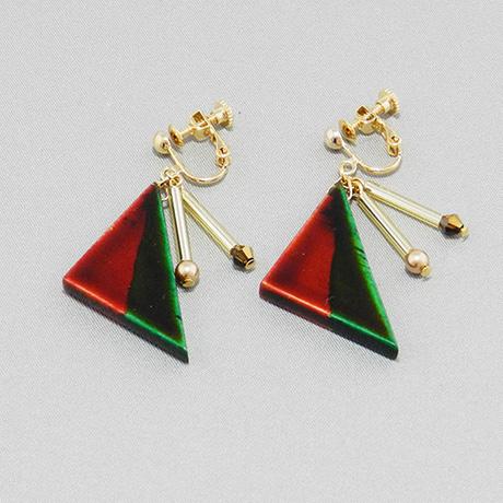 飛騨春慶のイヤリング 紅×緑