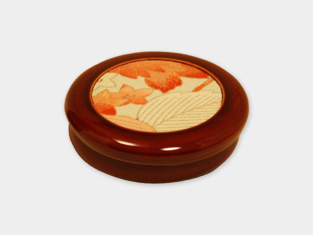 飛騨春慶塗 伝統工芸品 丸布張小箱 3.5寸 浅型 古布 1