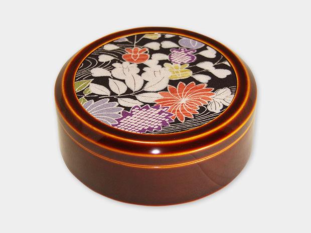 飛騨春慶塗 伝統工芸品 丸布張小箱 5寸 古布 1