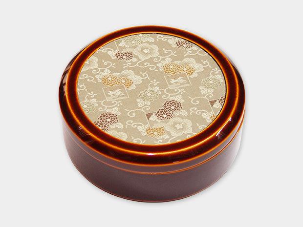 飛騨春慶塗 伝統工芸品 丸布張小箱 5寸 古布(緞子) 1
