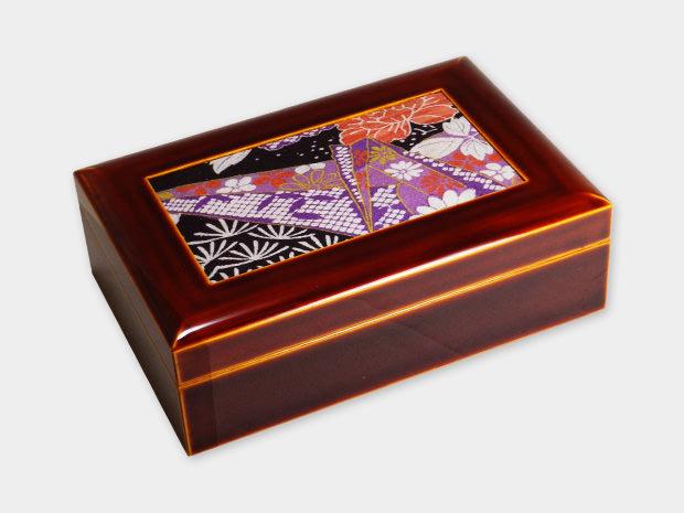 飛騨春慶塗 伝統工芸品 布張小箱 大 古布 1