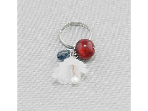 飛騨春慶塗 伝統工芸品 飛騨春慶の指輪 紅/花×スワロフスキー 1