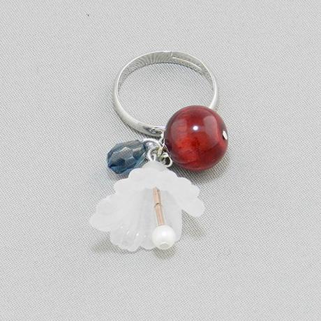 飛騨春慶の指輪 紅/花×スワロフスキー