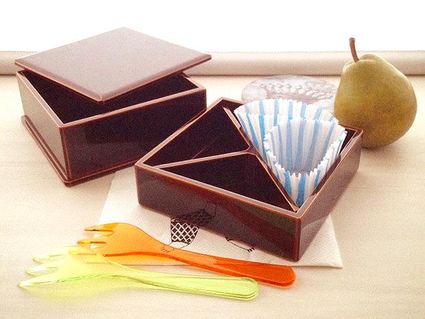 飛騨春慶塗 伝統工芸品 弁当箱 二段(正方形) 3