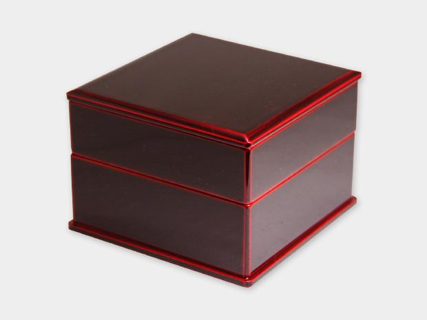 飛騨春慶塗 伝統工芸品 弁当箱 二段 紅(正方形) 1