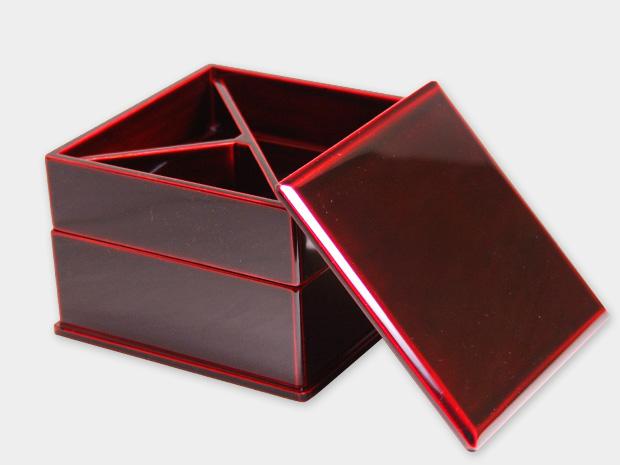飛騨春慶塗 伝統工芸品 弁当箱 二段 紅(正方形) 2