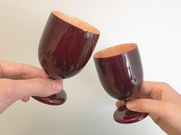 飛騨春慶塗 伝統工芸品 ワイングラス ミニ 紅 2
