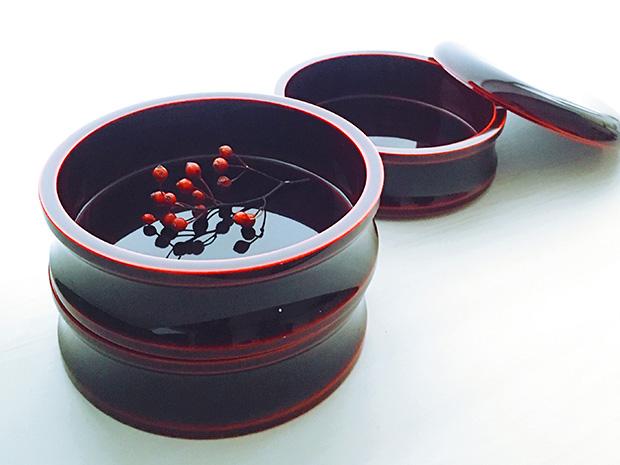 飛騨春慶塗 伝統工芸品 5寸丸三段重 紅(重箱) 2