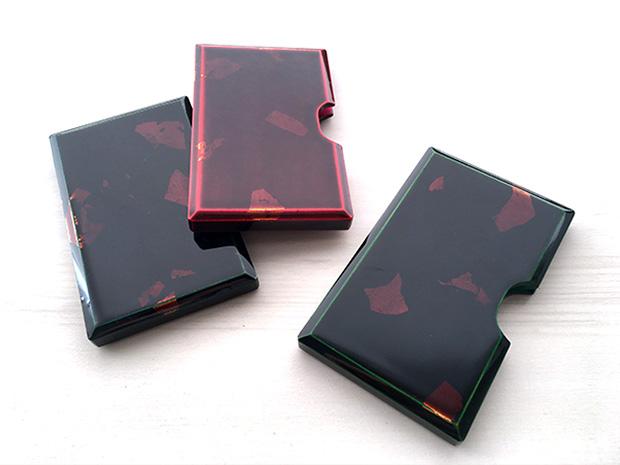 飛騨春慶塗 伝統工芸品 カード・名刺ケース 緑 銀箔 3