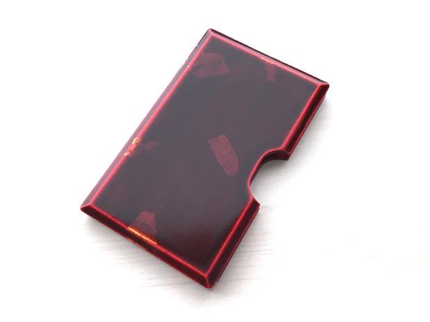 飛騨春慶塗 伝統工芸品 カード・名刺ケース 紅 銀箔 1