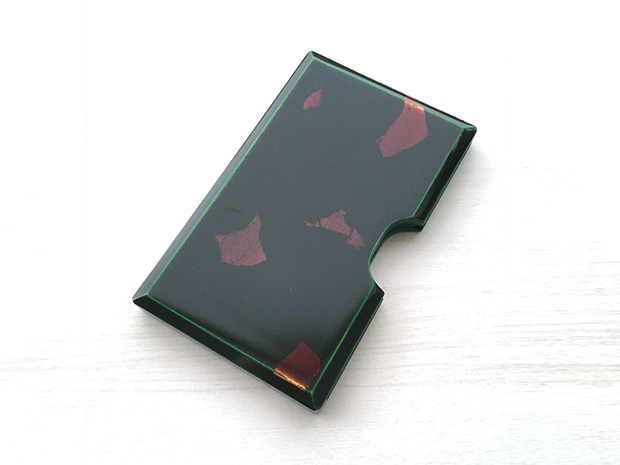 飛騨春慶塗 伝統工芸品 カード・名刺ケース 緑 銀箔 1