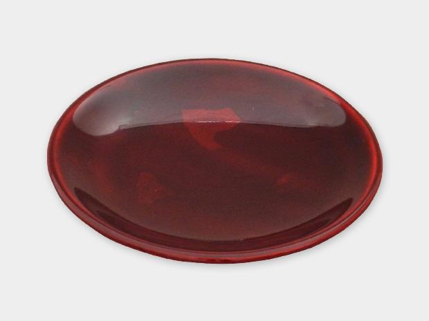 飛騨春慶塗 伝統工芸品 豆皿 小(椀型)銀箔 紅 1