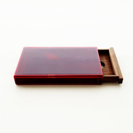 カード・名刺ケース スライド式 大 紅(銀箔)