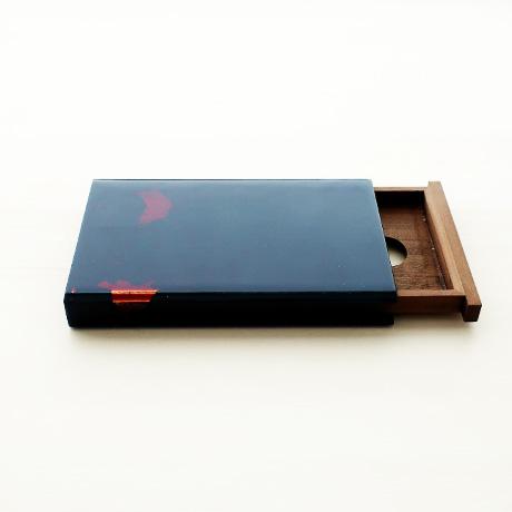 カード・名刺ケース スライド式 大 青(銀箔)