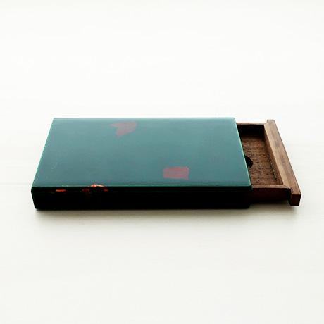 カード・名刺ケース スライド式 大 緑(銀箔)