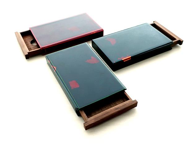 飛騨春慶塗 伝統工芸品 カード・名刺ケース スライド式 大 緑(銀箔) 2