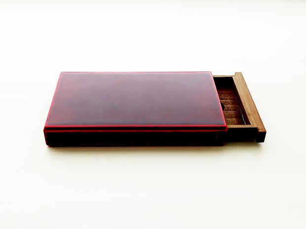 飛騨春慶塗 伝統工芸品 カード・名刺ケース スライド式マグネット付 大 紅 1