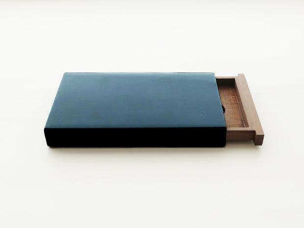 飛騨春慶塗 伝統工芸品 カード・名刺ケース スライド式 大 青 1