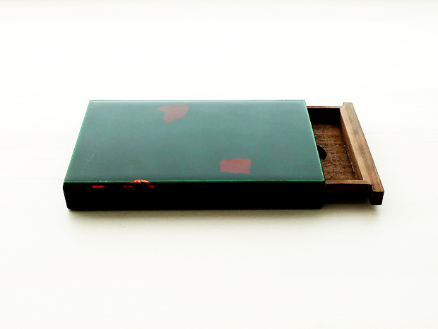 飛騨春慶塗 伝統工芸品 カード・名刺ケース スライド式 大 緑(銀箔) 1