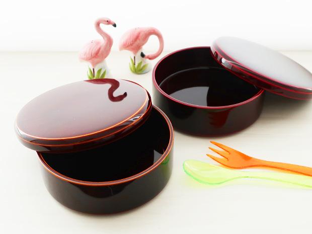 飛騨春慶塗 伝統工芸品 弁当箱 丸型 紅 5寸 3