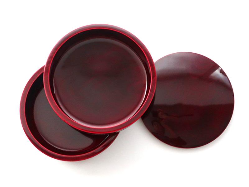 飛騨春慶塗 伝統工芸品 6寸丸二段重 紅(重箱) 4