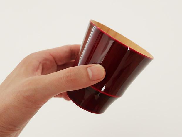 飛騨春慶塗 伝統工芸品 焼酎カップ 小 紅 2
